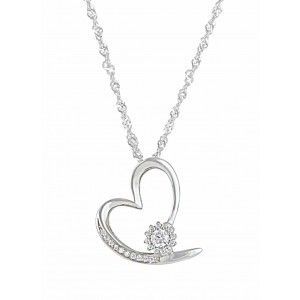 Sterling Silver Crystal Heart Necklace