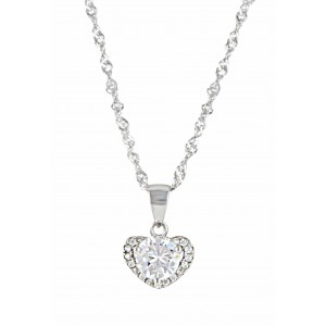 Crystal Heart Silver Pendant