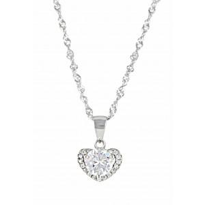 Crystal Heart Silver Pendant