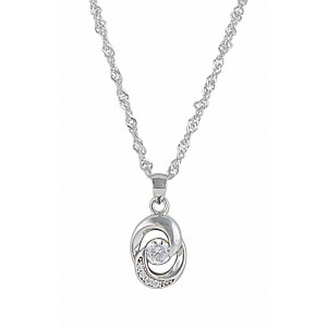 Featuring two interlocked open circles around a single shimmering clear stone, this understated sterling silver pendant has enough sparkle to pair with even the most formal of outfits.