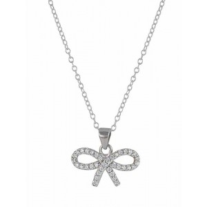 Silver Bow Cubic Zirconia Pendant Necklace