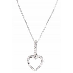 Heart Pendant Encrusted with Cubic Zirconia Pendant Necklace
