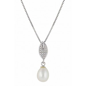 Freshwater Pearl Pendant with Leaf Charm
