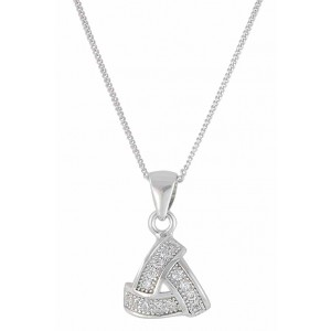 Curved Triangle Sterling Silver Pendant Necklace
