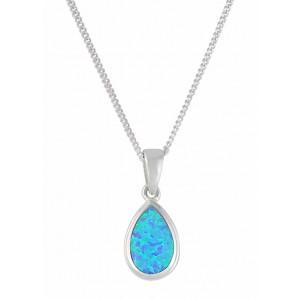 Blue Teardrop Stone Silver Pendant Necklace