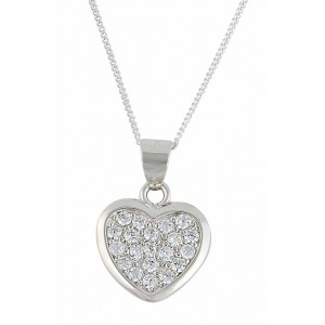 Sterling Silver Rhodium Plated Heart Pendant Necklace