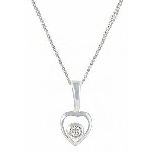 Single CZ and Open Silver Heart Necklace