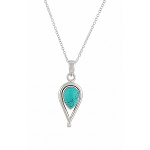 Open Water Drop Silver Turquoise Pendant