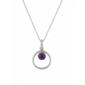 Silver Circle Amethyst Pendant Necklace