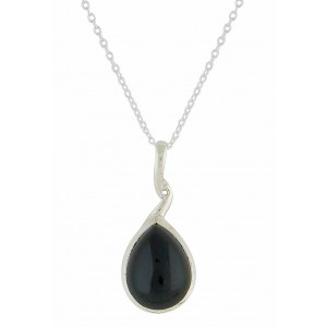 Twisted Stem Black Onyx Silver Necklace