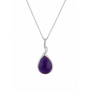 Amethyst & Teardrop Pendant Silver Necklace