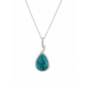 Twisted Stem Turquoise Silver Pendant