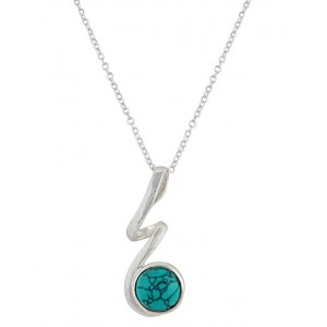 Curly stem & Silver turquoise necklace