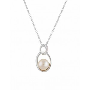 Linked Oval Silver Freshwater Pearl Pendant