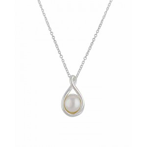 Twist Teardrop Single Pearl Necklace