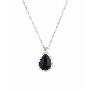 Silver Teardrop Black Onyx Pendant - Black Onyx Jewelry