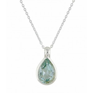 Teardrp Blue Topaz Silver Necklace