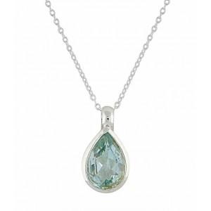 Teardrp Blue Topaz Silver Necklace