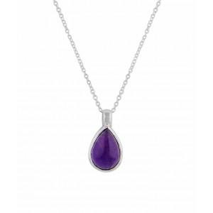 Teardrop Amethyst Pendant Silver Necklace