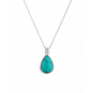 Teardrop Pendant Silver Turquoise Necklace