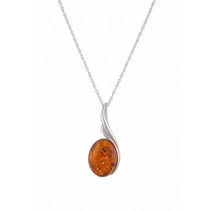 Amber Swirl Pendant Silver Necklace - Amber Jewellery