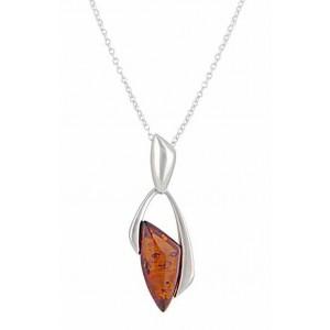 Geometric Silver Amber Pendant - Amber Jewellery