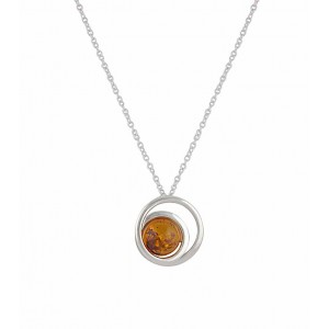 Spiral Silver Amber Necklace