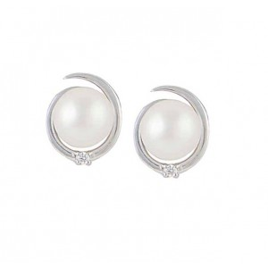 Silver Stud Freshwater Pearl Earrings