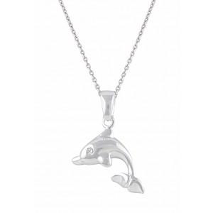 Silver Dolphin Pendant Necklace