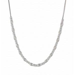 Round and Oval Bead Silver Necklace