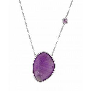 Silver Purple Amethyst Necklace - Amethyst Jewellery