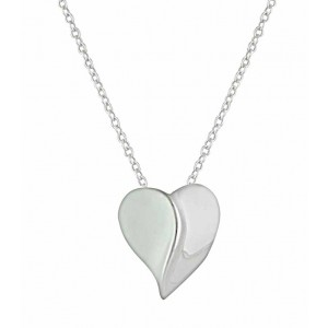 Curved Heart Silver Necklace