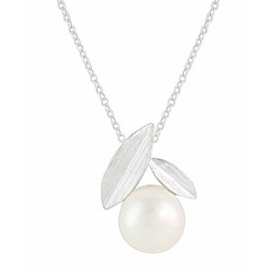Leaf and Pearl Silver Necklace