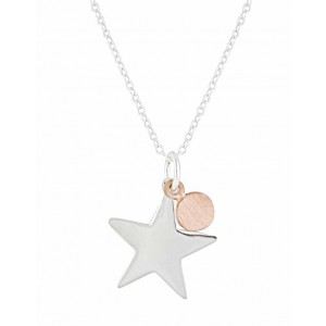 Star and Rose Gold Disc Silver Pendant Necklace