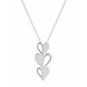 Triple Heart Silver Necklace