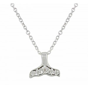 Whale Tail Cubic Zirconia Small Silver Pendant