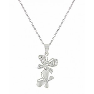 Twin Silver Butterfly Necklace