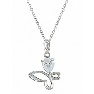 Stone-set Small Butterfly Silver Pendant