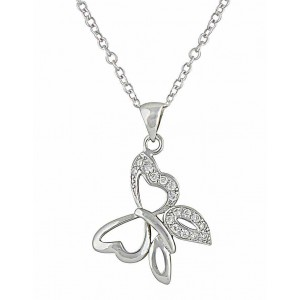 Butterfly and Cubic Zirconia Silver Pendant