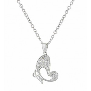Cubic Zirconia Butterfly Silver Pendant