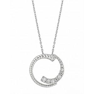 Cubic Zirconia Circle Silver Pendant