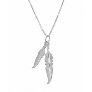 Double Feather Silver Necklace