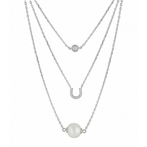 Horseshoe and Freshwater Pearl Layered Silver Necklace