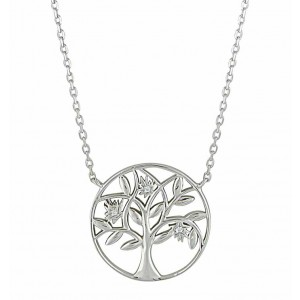 Tree of Life and CZ Silver Necklace