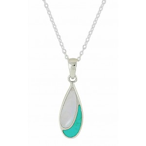 Turquoise and Mother of Pearl Droplet Silver Necklace