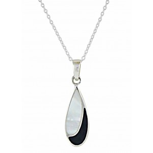 Black Onyx and Mother of Pearl Droplet Silver Necklace