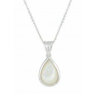 Timeless Teardrop and Mother of Pearl Silver Necklace