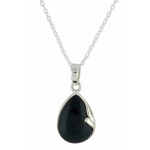 Teardrop and Black Onyx Silver Necklace