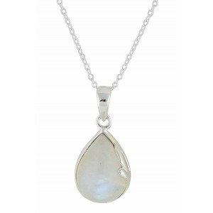 Teardrop and Moonstone Silver Necklace