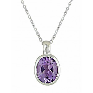 Oval Faceted Amethyst Silver Necklace